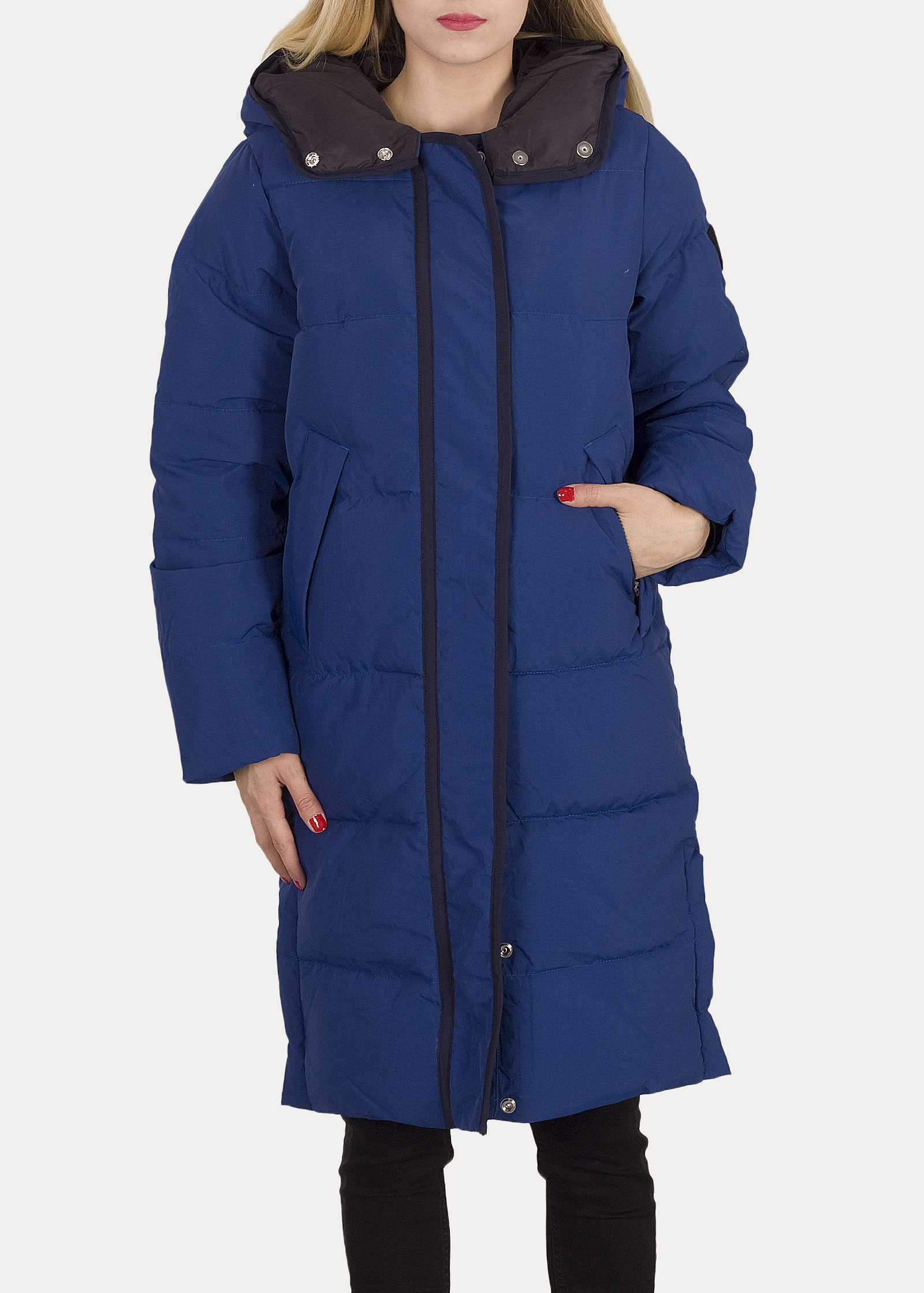 Damska Kurtka Lee Long Puffer Jacket Oil Blue