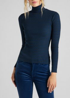 Damski Sweter Lee® Long Sleeve Striped Rib Tee - Washed Blue (L40SYLLR)