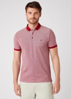 T-Shirt Męski Wrangler® Refined Polo - Biking Red (W7AFKHX2G)