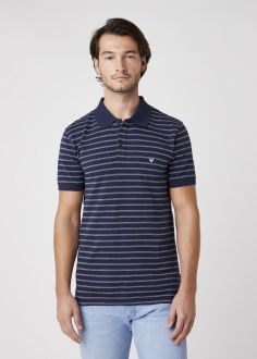 T-Shirt Męski Wrangler® Short Sleeve Stripe Polo - Navy (W7ALKD114)