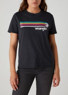 T-Shirt Damski Wrangler® Regular Rib Tee - Faded Black (W7N9GHXV6)