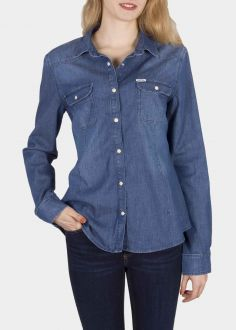 Cross Jeans® Shirt A 604 005 - Mid Blue (419) (A-604-005)