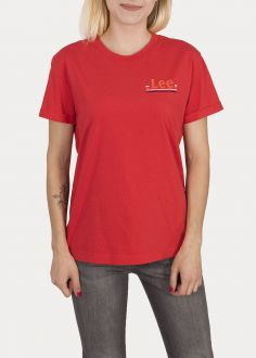 T-Shirt Damski Lee® Chest Logo Tee - Warp Red (L43ZFEKG)
