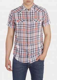 Wrangler® Short Sleeve Western Shirt - Glow Orange (W5A246D48)