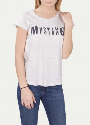 Mustang® Logo Tee - Light Grey Melane