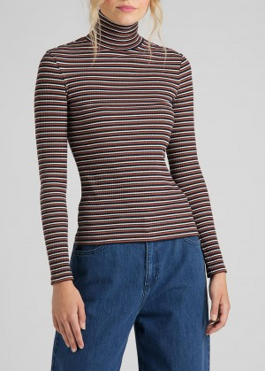 Lee® Long Sleeve Striped Rib Tee - Burnt Ocra